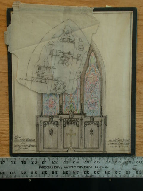 [Design drawing for architectural elements: New Chancel Window and Alternate Reredos]