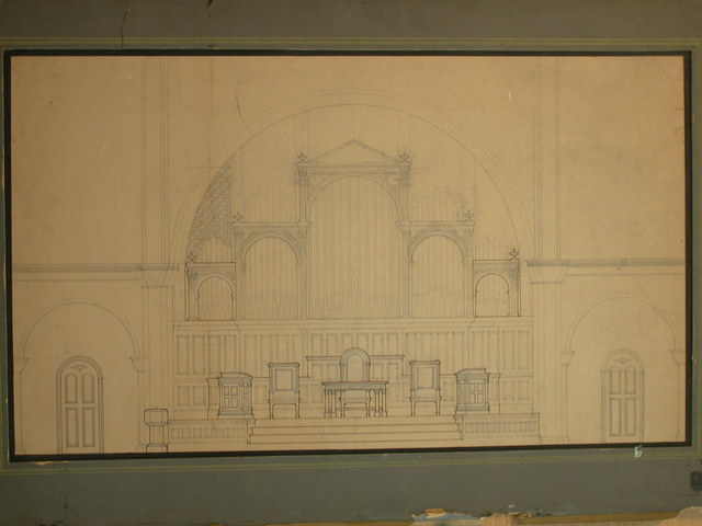 [Design drawing for architectural elements: Renaissance-style arcaded raredos with furniture for First Presbyterian Church]