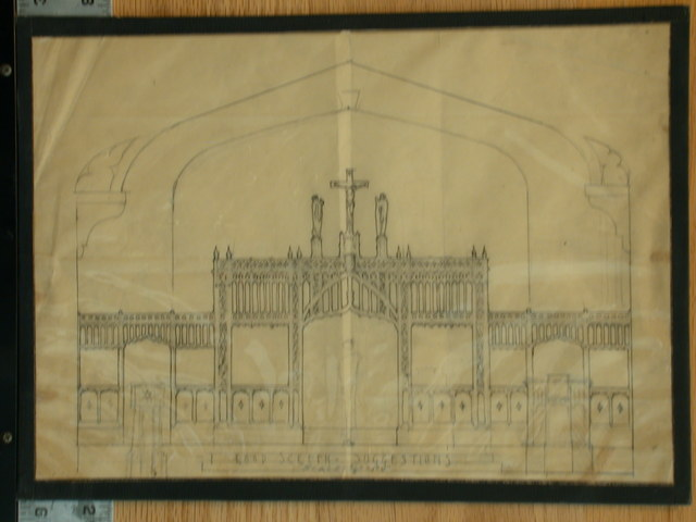 """[Design drawing for architectural elements (""""Rood Screen Suggestions,"""") English Gothic pierce-work rood screen with crucifix and saints finials]"""