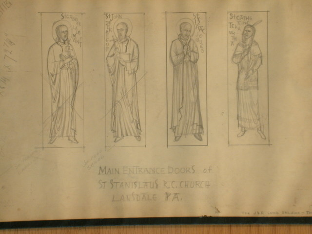 [Design drawing for main entrance doors showing four saints, including St. Catherine Tekawitha in Native American dress for St Stanislaus Roman Catholic Church in Lansdale, Pennsylvania]