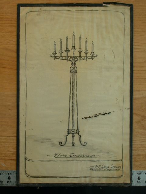 [Design drawing for metalwork: Floor Candelabra]