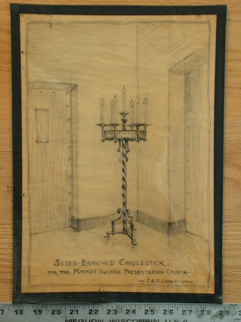 [Design drawing for metalwork: Seven-Branched Candlestick for Market Square Presbyterian Church]