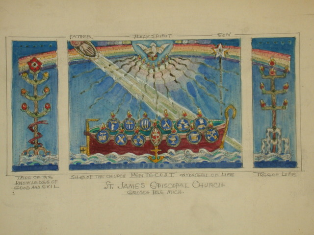 "[Design drawing for mural for St. James Episcopal Church in Grosse Ile, Michigan, with central altar Mosaic for Reredos, Holy Spirit, Pentecost, Rainbow, Ship of Church ... ""an effective story entirely through... symbols""]"