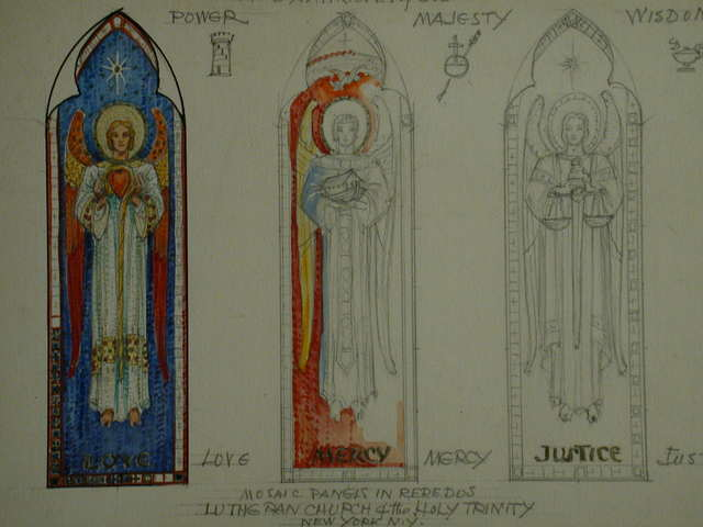 "[Design drawing for mural (""mosaic panels in reredos"") showing The Six Attributes of God depicted as symbols held by angels in 3 windows: Love, Mercy, and Justice; with small symbol sketches between: Power, Majesty, and Wisdom; for Lutheran Church of the Holy Trinity in New York, New York]"