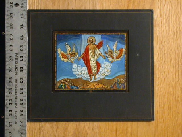 [Design drawing for mural showing Ascension with footprints, stigmata, angels]