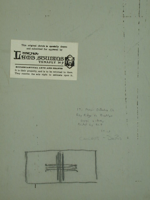 [Design drawing for mural showing St. Matthew, for St. Mary's Orthodox Church in Bay Ridge, Brooklyn, New York]