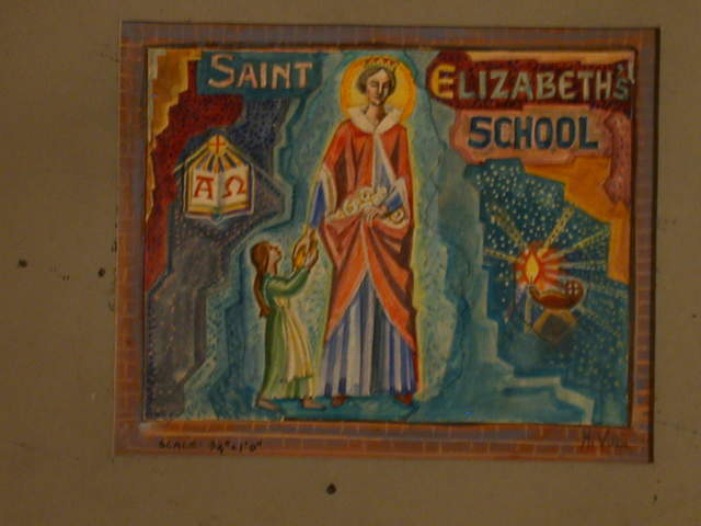 [Design drawing for mural with saint and girl at center of Bible and lamp for St. Elizabeth's School]