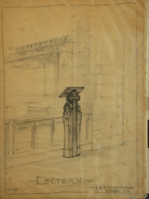 [Design drawing for slant-top Lectern with scroll-clutching male figure 'caryatids' and Celtic cross]
