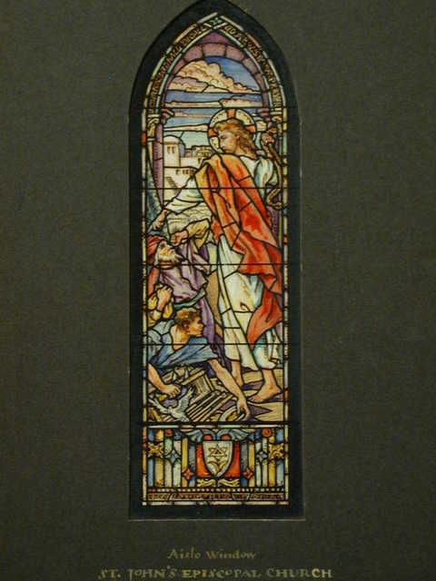 """[Design drawing for stained glass aisle memorial window for St. John's Episcopal Church in Roanoke, Virginia, with text """"Our House Shall be Called a House of Prayer,"""" showing pastel Christ with money-changers]"""