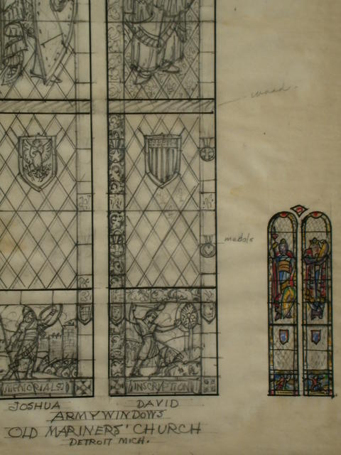 [Design drawing for stained glass Army windows with armored Joshua; and David and Goliath for Old Mariners' Church in Detroit, Michigan]