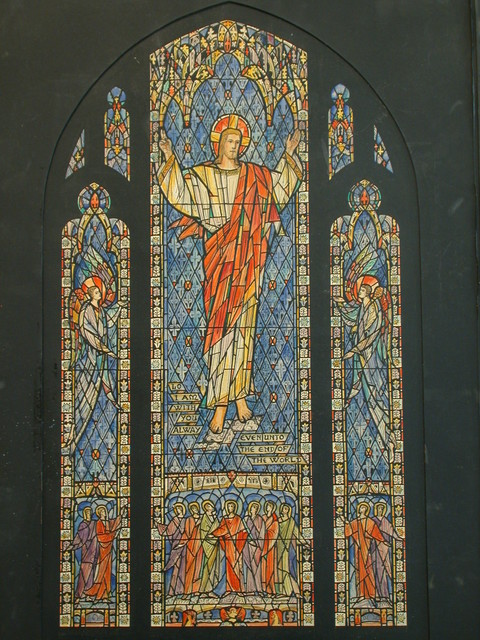 """[Design drawing for stained glass Ascension window """"Lo, I am With You Alway [sic] ... """" for Christ Cathedral in Salina, Kansas]"""