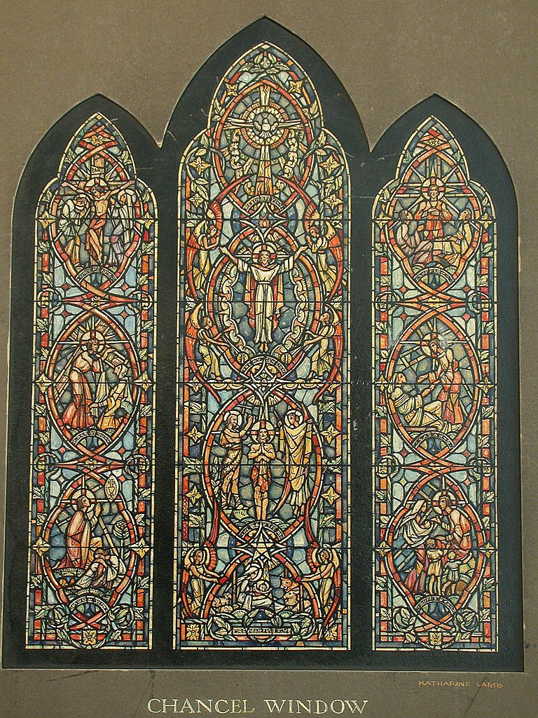 [Design drawing for stained glass Chancel window showing Christ's ministries for Church of the Reconciliation in Webster, Massachusetts]