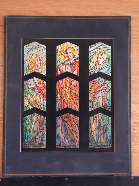 [Design drawing for stained glass Chevron windows with Suffer the Little Children with expressive panes, stylized, and monumental figures]