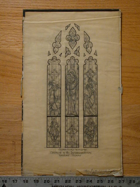 [Design drawing for stained glass Clerestory window showing The Adoration for Church of the Incarnation in Dallas, Texas]