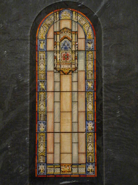 [Design drawing for stained glass Clerestory Window, translucent with floral pattern]