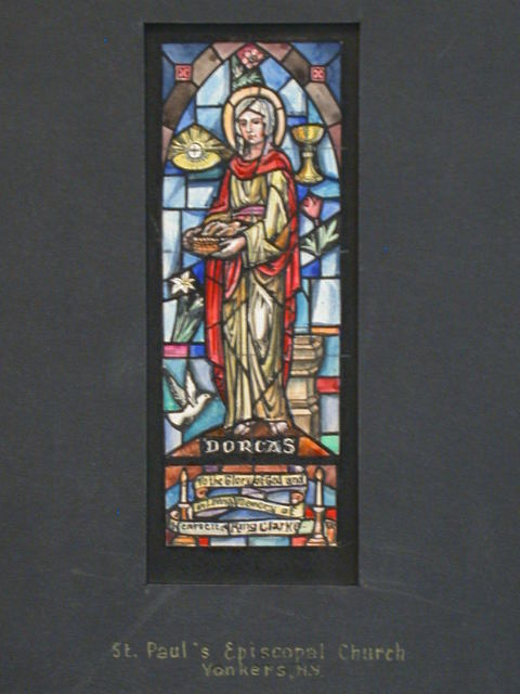 [Design drawing for stained glass Dorcas memorial window with lily, chalice, dove, and candles for St. Paul's Episcopal Church in Yonkers, New York]