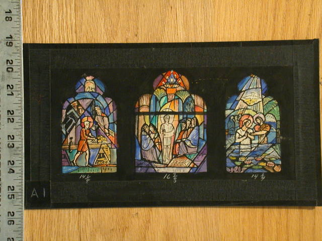 [Design drawing for stained glass for 3 Christ windows: Carpentry Shop, in the Temple, and Baptism]