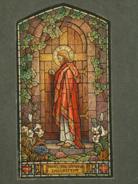 [Design drawing for stained glass for Beatific memorial window showing Christ knocks at door, with lilies; William Holman Hunt illustration-style]