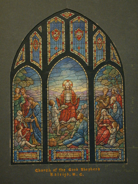 [Design drawing for stained glass for Church of the Good Shepherd in Raleigh, North Carolina, with beatific Miracle of the Loaves and Fishes]