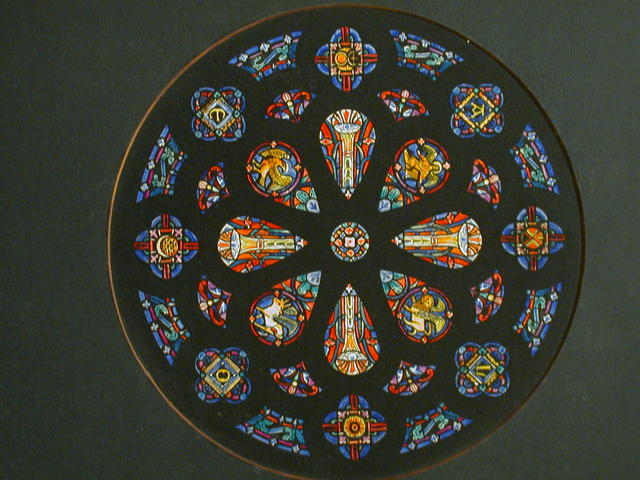 [Design drawing for stained glass for Intricate Tracery Type of Rose Window]