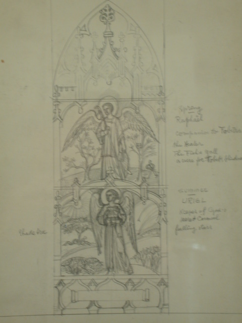 [Design drawing for stained glass gothic window with Spring/Raphael, Summer/Uriel]