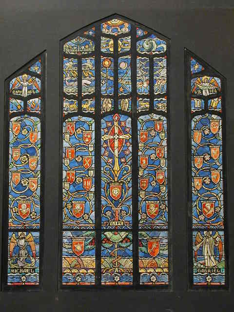 """[Design drawing for stained glass Great East window with many Christian symbols, Archangels and text """"Life"""" for Christ Church in Roanoke, Virginia]"""