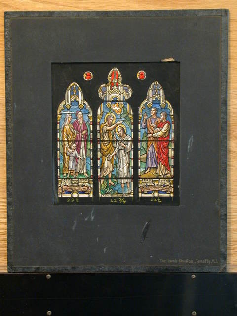 [Design drawing for stained glass Hall memorial triptych window with Baptism of Christ]