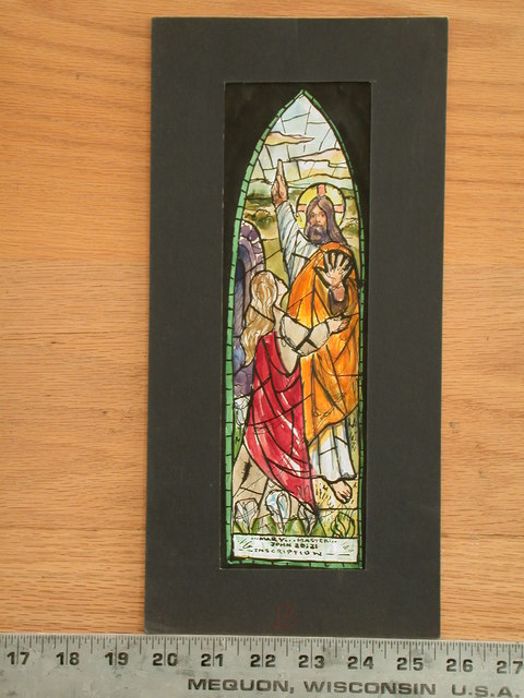 """[Design drawing for stained glass memorial Noli Me Tanger window with text """" ... Mary, ... Master! ...""""]"""