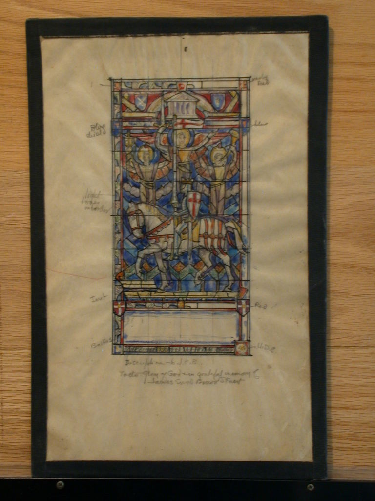 """[Design drawing for stained glass Memorial window for """"J.E.B. James Ewell Brown Stuart(?)"""" with heraldic knight, temple, angels]"""
