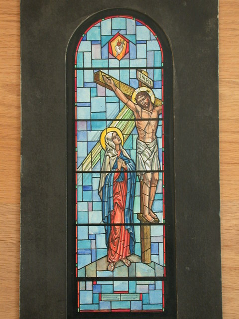 """[Design drawing for stained glass memorial window """"Mother of Sorrows"""" showing Crucifixion with Madonna on mid grid; in Loving Memory of Mr. and Mrs. B.A. Schneider]"""