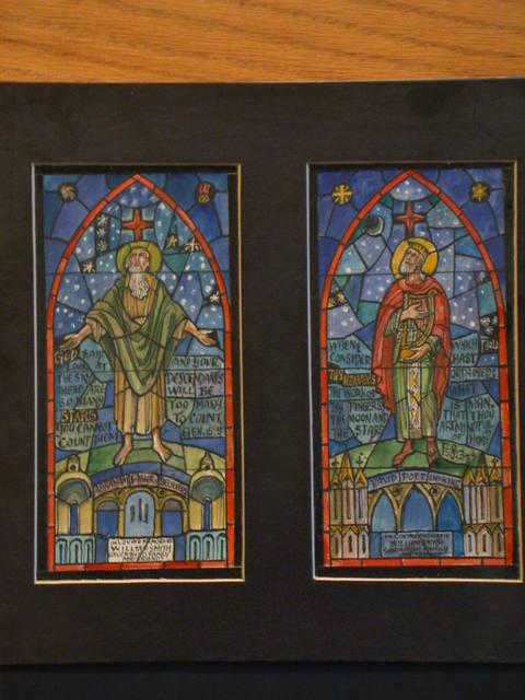 [Design drawing for stained glass memorial window showing Abraham, Father of Believers; and David, Poet and King]