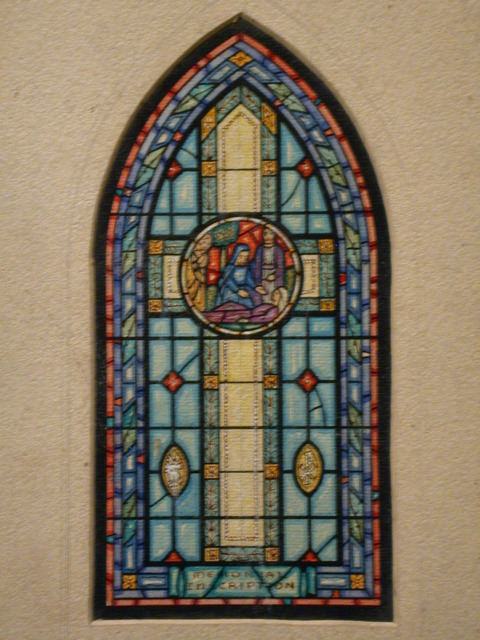 [Design drawing for stained glass memorial window showing Assumption with cruciform panes and figural tondo]