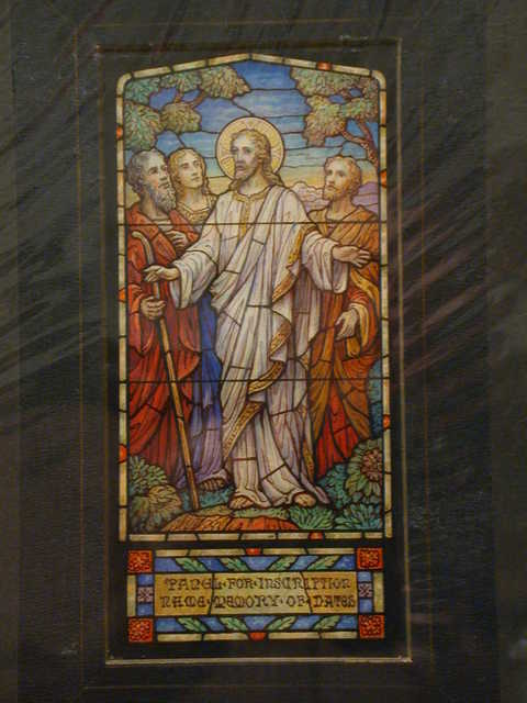 [Design drawing for stained glass memorial window showing beatific Christ and three disciples, one an unbearded youth]