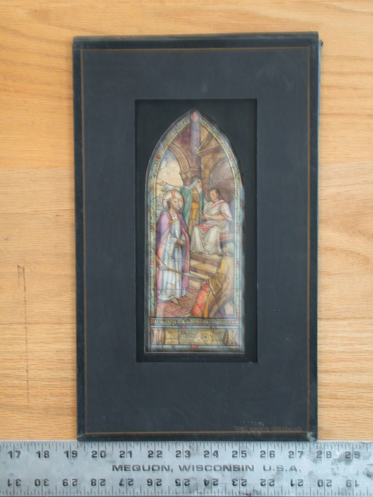 [Design drawing for stained glass memorial window showing Christ before Pilate, with architecture, carpet, throne in niche, projecting point of soldier's pike, border with quotes]