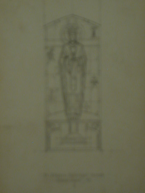 [Design drawing for stained glass memorial window showing Christ(?) with chalice, Chiro, grape vine, sheaf of grain, etc., for St. Alban's Episcopal Church, Staten Island, New York]