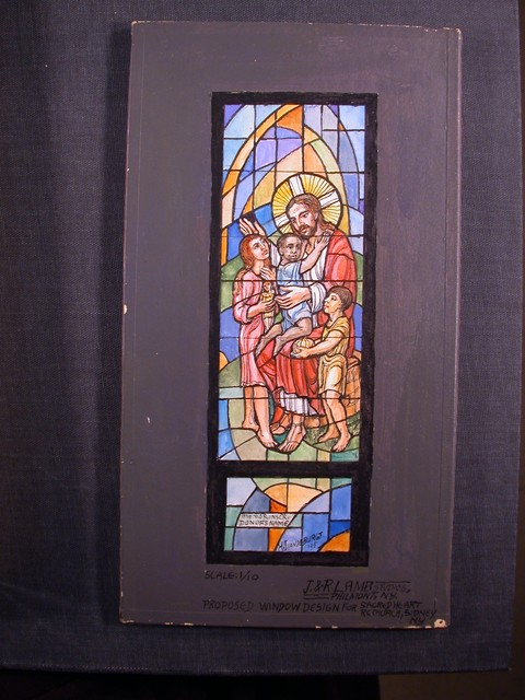 [Design drawing for stained glass memorial window showing Christ with European, African, and Asian children, and toys for proposed Sacred Heart Roman Catholic Church in Sidney, New York]