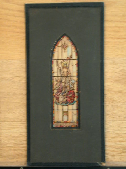 [Design drawing for stained glass memorial window showing Christ with soldiers (Resurrection?)]