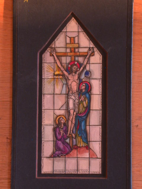[Design drawing for stained glass memorial window showing Crucifixion with Marys]