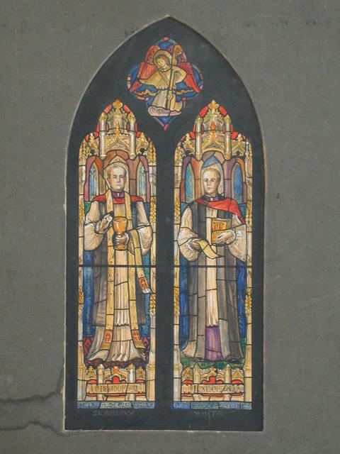 [Design drawing for stained glass memorial window showing Eucharist with Seabury and White with Gothic architectural frames]