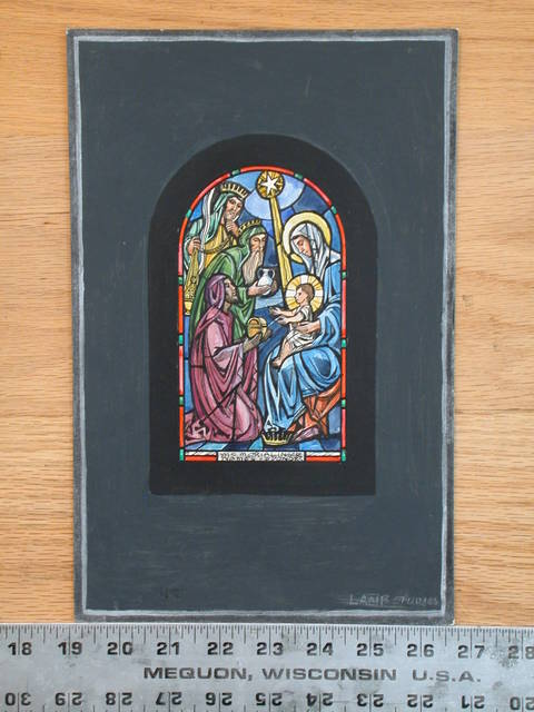 [Design drawing for stained glass memorial window showing Gifts of the Magi with star, casket, vessel, and censer]