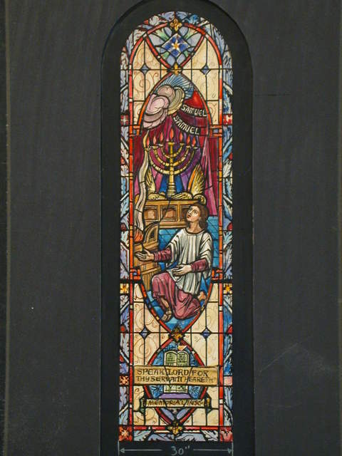 """[Design drawing for stained glass memorial window showing kneeling young man, menorah, and Ten Commandments with text """"Samuel, Samuel: Speak, Lord For Thy Servant Heareth""""]"""
