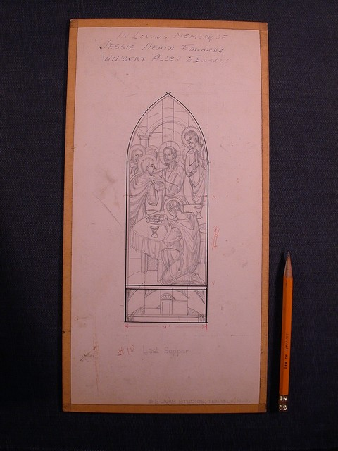 [Design drawing for stained glass memorial window showing Last Supper]