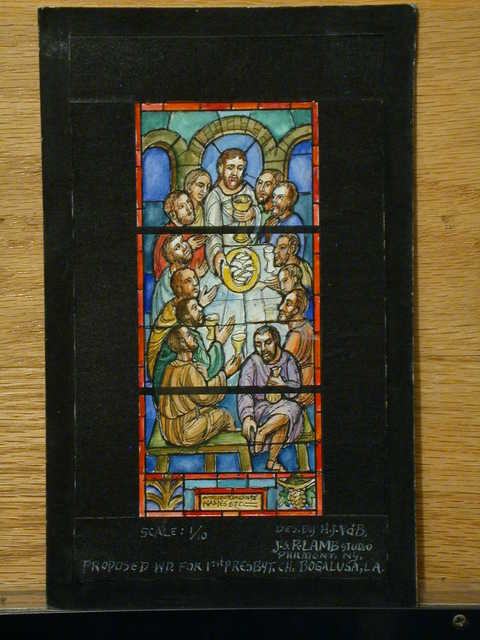 [Design drawing for stained glass memorial window showing Last Supper for First Presbyterian Church in Bogalusa, Louisiana]