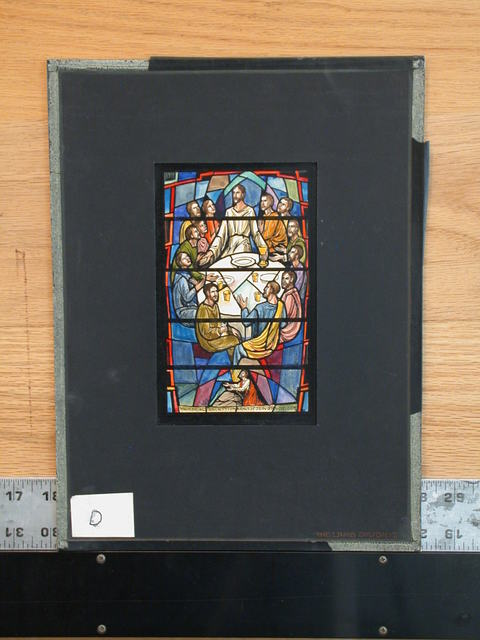 [Design drawing for stained glass memorial window showing Last Supper in mandorla formed by Apostles around table, with Agony as nadir, arched door as apex thereof]