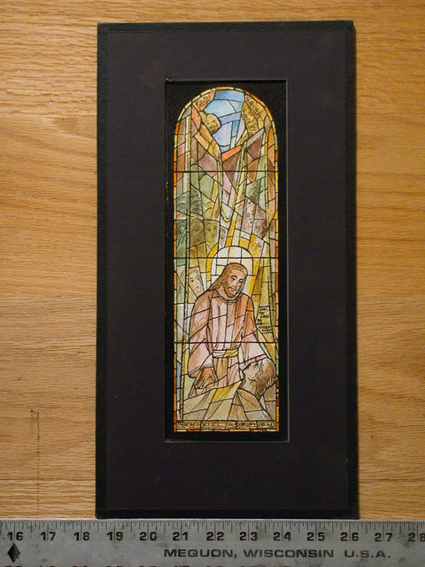 [Design drawing for stained glass memorial window showing Letting the Stretcher through the Roof for Sacred Heart Chapel in Carville, Louisiana]
