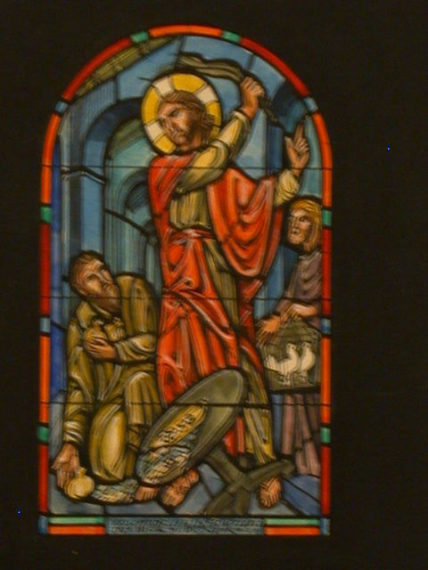"""[Design drawing for stained glass memorial window showing money-changer, coins, birds in cage, and arcades with text """"Christ's Confrontation in the Temple. Mark 11:15-17""""]"""