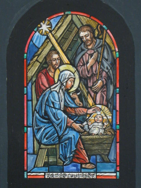 [Design drawing for stained glass memorial window showing Nativity with bull, thatch roof, manger, and star]