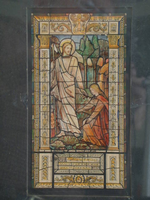 [Design drawing for stained glass memorial window showing Noli Me Tangere with Greek key/meander border]