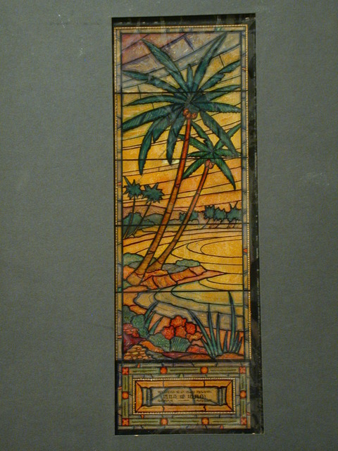 [Design drawing for stained glass memorial window showing palm trees for Ferncliff Community Mausoleum in Dobbs Ferry, New York]