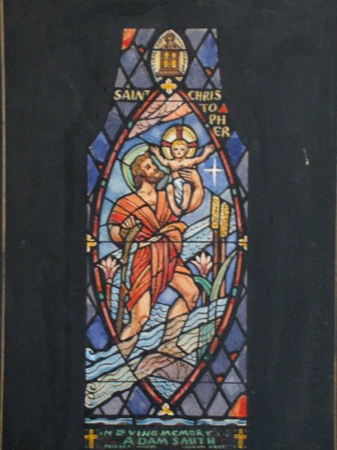 """[Design drawing for stained glass memorial window showing Saint Christopher with text """"in Loving Memory Adam Smith""""]"""